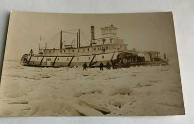 Oregon Sternwheeler N R Lang Stuck ice Willamette River Real photo postcard RPPC