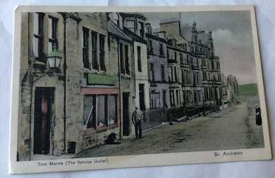 Tom Morris pioneer golfer Saint Andrews Scotland H/C early Golf Postcard