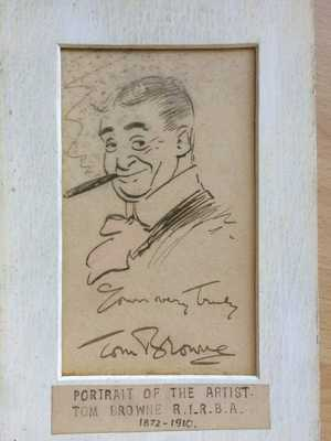 VERY RARE PEN & INK TOM BROWNE 1872-1910 SIGNED SELF PORTRAIT HUMOUR POST CARDS