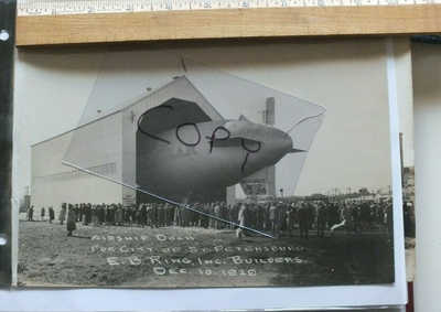 FL - 1929 Dec. Florida REAL PHOTO Good Year Blimp in Hangar at St. Petersburg FL