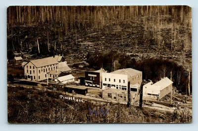 TIMBER OREGON c1914 AERIAL RPPC - NOW GHOST TOWN - BOXCAR TRAIN DEPOT S.P.R.