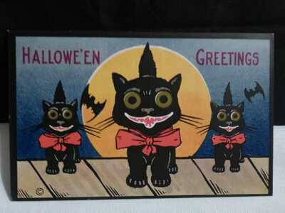 Vintage RARE Black Cats Halloween Postcard-1913- by H.M Rose-Unposted