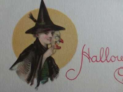 Vintage Classic Beautiful Witch Halloween Postcard-USA Made-MINT-