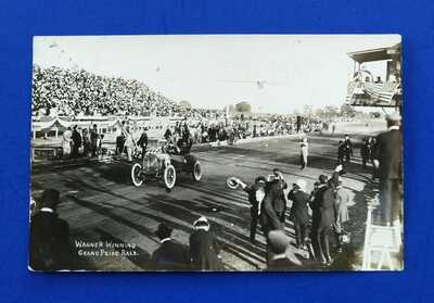 RPPC Louis Wagner Winning Grand Prize Auto Race Postcard 1908 ~ Savannah GA RARE
