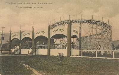 THE ROLLER COASTER , MILLBROOK , PORTSMOUTH , OHIO 1911  , HAND COLORED
