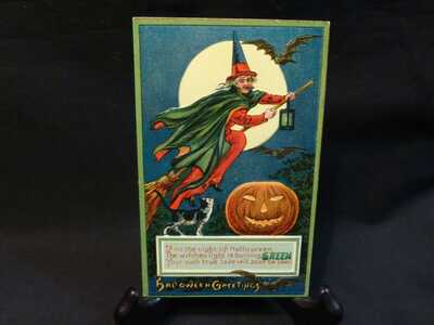 Vintage Halloween Gel Flying Witch Postcard-MINT Condition-One Great Card