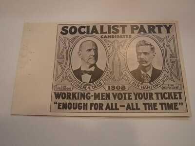 1908 POLITICAL SOCIAIST PARTY POSTCARD. (DEBS VS. HANFORD)