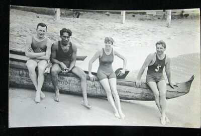 VINTAGE 1910 HAWAII SWIM SURF DUKE KAHANAMOKU FRANCIS COWELL LUDY LANGER (RPPC)