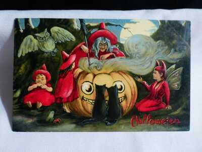 SCARCE-Vintage Halloween Postcard-Witch Brewing in Hugh JOL & Pixies-Valentine
