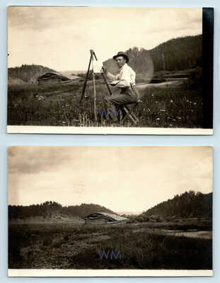 MELVILLE T WIRE AMERICAN IMPRESSIONIST PAINTER PHOTO RPPC PORTRAIT SIGNATURE LOT