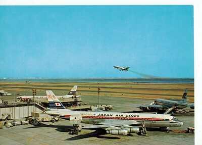 Japan Airlines DC8's & 727, Garuda DC8?? @ Tokyo airport postcard