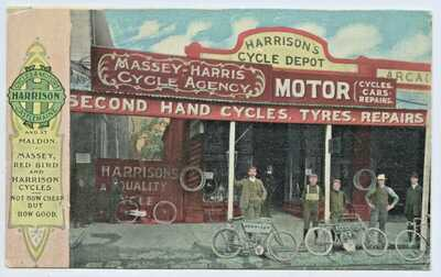 C1908 PU FW NIVEN POSTCARD HARRISON'S CYCLE DEPOT CASTLEMAINE VICTORIA L245.
