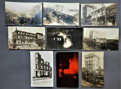 1914 Durham North Carolina Fire Real Photo Postcard Set - NC