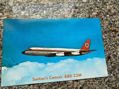 Sunfari Convair CV-880 'clubhouse in the sky' inflight airline issued postcard