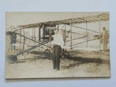 Vintage RPPC Postcard Man With Airplane Stevens Point, WI