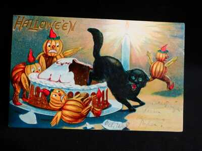 Scarce-HTF Blk Cat In Cake W/Veggie People-Halloween Postcard by Valentine