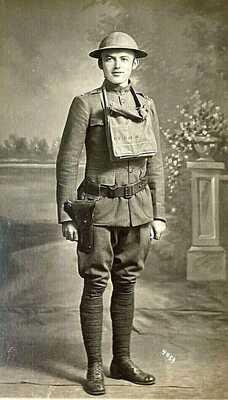 ORIGINAL WW1 US ARMY ENG. LIEUT, HELMET, GAS MASK, 45,PHOTO POSTCARD RPPC SHARP!