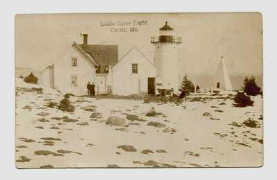 Cutler, ME. RPPC postcard Little River Lighthouse; Green Lake, Maine DPO cover