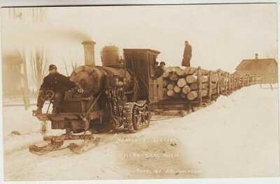 Michigan RPPC  - Cheboygan - - Lombard Steam log hauler  ca 1910