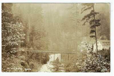 Melmont Ghost Town Mining Carbon River Bridge Pierce County Washington RPPC #3