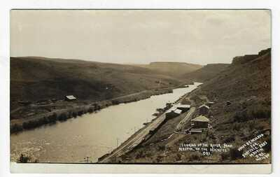 Looking Up Deschutes River from Maupin Wasco Oregon RPPC by Ole Hedlund Postcard