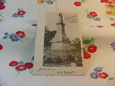 Circa 1907 Confederate Monument Soldiers Cemetery Griffin Ga Postcard I93