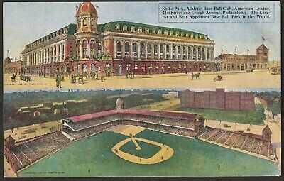 Extremely Rare Philadelphia Athletics - Phillies Baseball Shibe Park Postcard