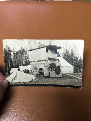 VTG RPPC POSTCARD-SHAW AND POWELL CAMPING COMPANY, YELLOWSTONE PARK-1900's
