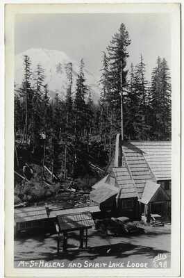 Spirit Lake Lodge Mount St. Helens Washington RPPC Real Photo Postcard Ellis #2