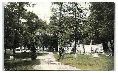 Evangelist Camp Grounds Entrance, Lomira, WI Postcard *7E(2)4