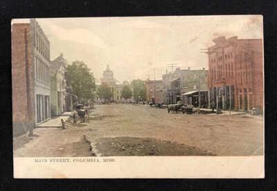 Antique Columbia Mississippi Postcard Main Street 1913 Vintage MS