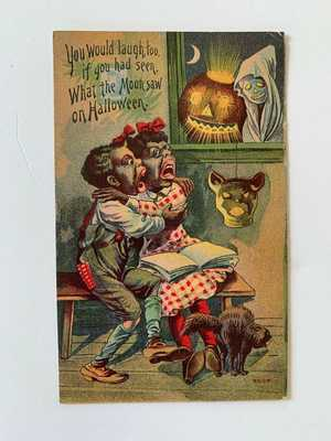 Original Halloween Postcard 6508 Oct 31 1910 Black Americana Series 6500-6511
