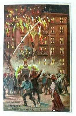 Vtg 1900s Hold To The Light Fighting The Flames CONEY ISLAND N.Y Postcard