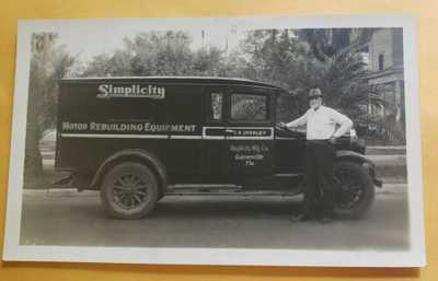 (2) 1931 RPPC Postcards Simplicity Car Motor Repair Truck Gainesville Florida