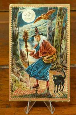 ANTIQUE HALLOWEEN POSTCARD RAPHAEL TUCK & SONS SERIES 160 WITCH HOLDING BROOM