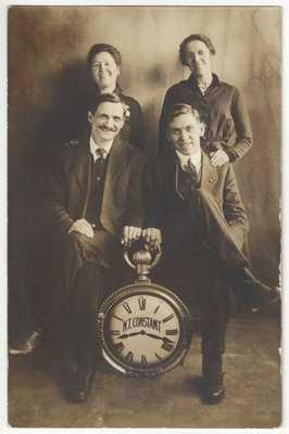 1915 Studio REAL PHOTO - Pocket Watch Salesman - Vintage Postcard