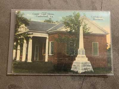 Rare W.E. Burgess Scottsville Postcard Cumberland VA  Confederate Monument Court