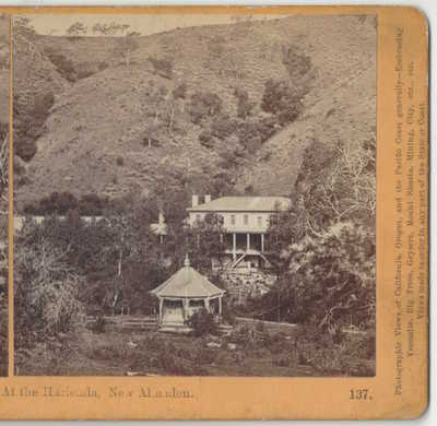 1870 San Jose California New Almaden Hotel, Quicksilver Mine, Watkins Stereoview