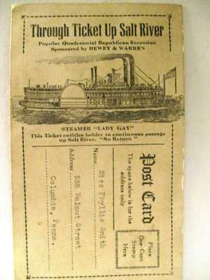 RARE Roosevelt vs Dewey Steamer Lady Gay Republican Salt River Excursion ticket
