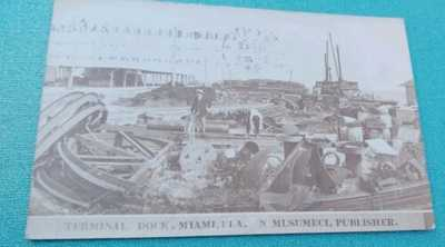 MIAMI FL -1908 RRPC terminal dock boats bicycle MUSUMECI Postcard