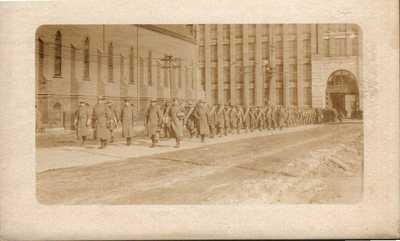 Antique RPPC Postcard  LAWRENCE MA 1912 TEXTILE STRIKE  TROOPS MARCHING  RARE