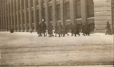 Antique RPPC Postcard LAWRENCE MA 1912 TEXTILE STRIKE  TROOPS IN THE SNOW  RARE