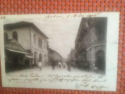 Malaya  Penang 1906 Rikscha Stand before Pritchard Comp Brach Street Singapore