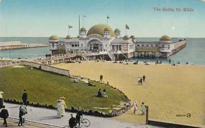 VINTAGE POSTCARD THE BATHS  St KILDA  VICTORIA 1908