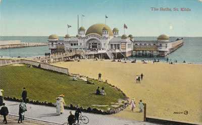VINTAGE POSTCARD THE BATHS  St KILDA  VICTORIA 1908