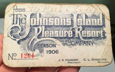 RARE 1906 Johnsons Island Ohio PLEASURE RESORT CO G Beck Season Pass Put In Bay