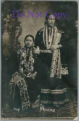 "1910's NATIVE AMERICAN INDIAN WOMEN ""TO SQUAWS"" REAL PHOTO RPPC POSTCARD"