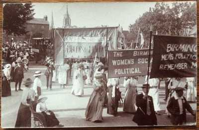 ANTIQUE RPPC BIRMINGHAM SUFFRAGETTES W.S.P.U STRATFORD-UPON-AVON WARKS MARCH