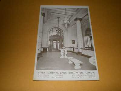 Old Interior View First National Bank Champaign IL Illinois Postcard