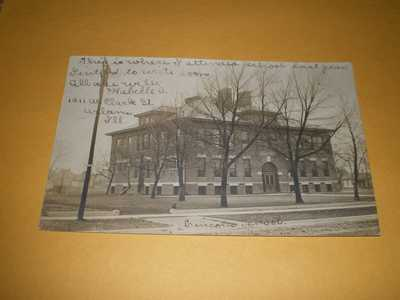 1907 RPPC Town View Lincoln School Urbana IL Illinois Photo Postcard